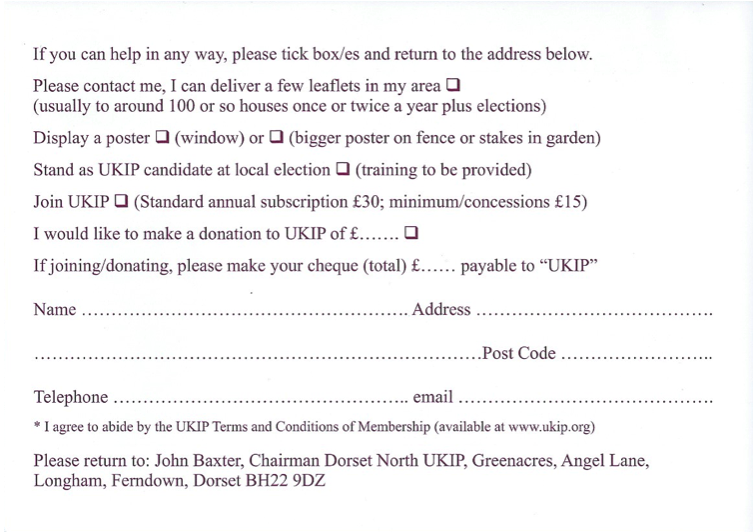 UKIP Calling Card Back