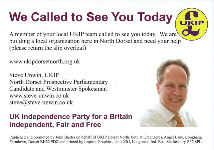 UKIP Calling Card Front