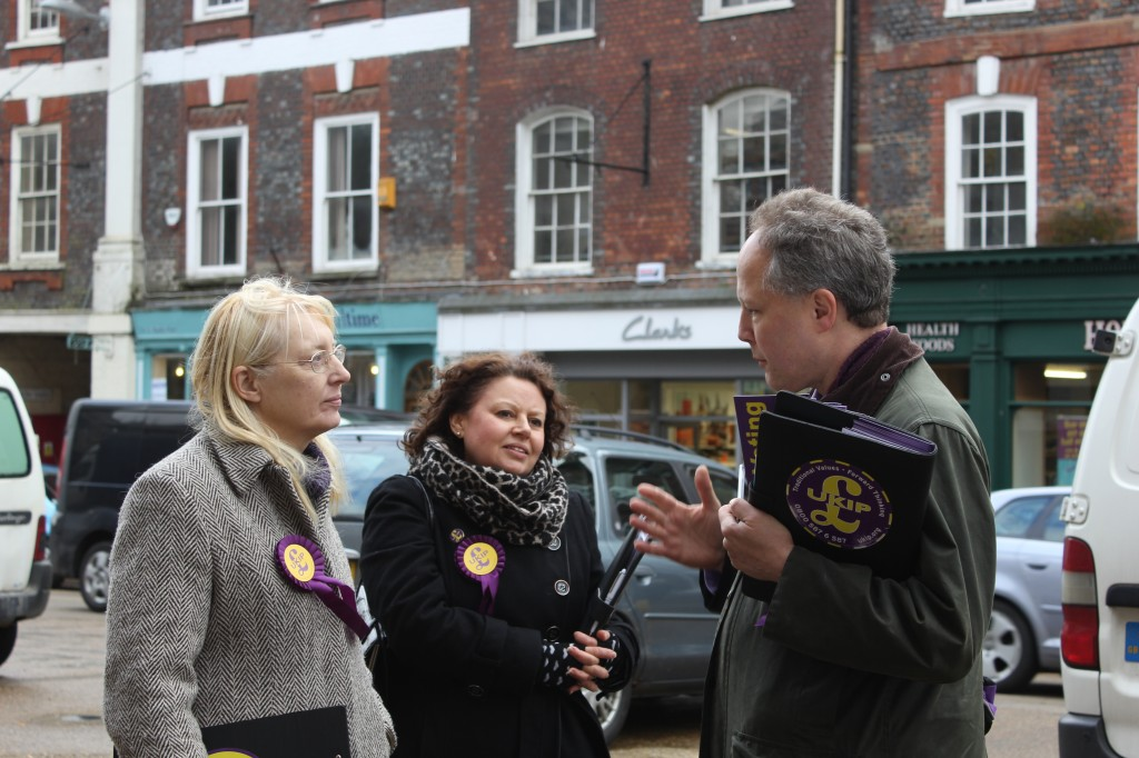 UKIP Steve Unwin and some of his team in Blandford Forum